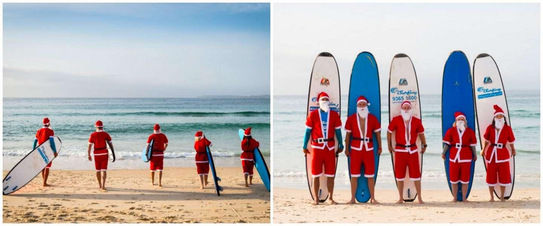 320 surfende Kerstmannen breken record voor grootste surfles ooit!