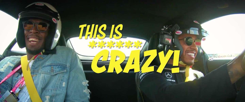 Lewis Hamilton laat Usain Bolt zien wat echte snelheid is!