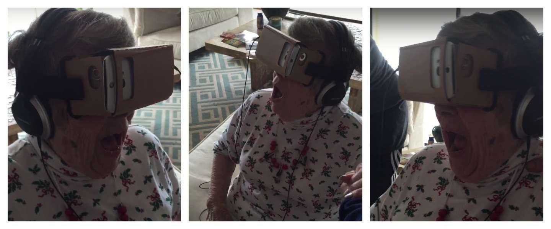 Deze oma probeert virtual reality voor de eerste keer