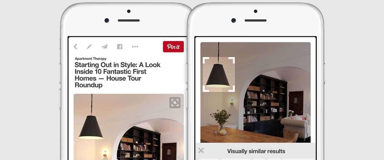 Pinterest laat je zoeken door te klikken op foto's