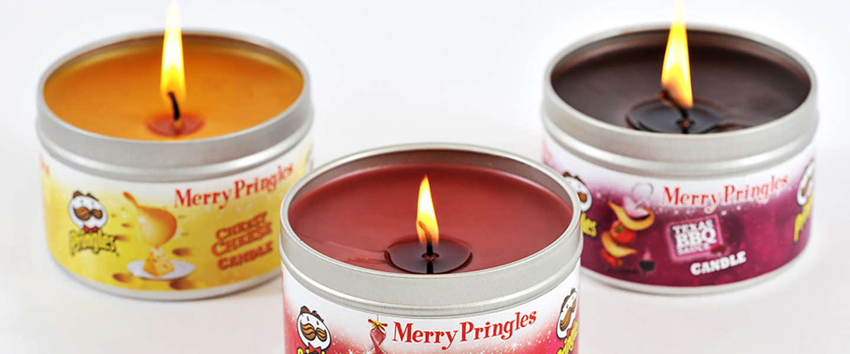 Naar-Pringles-geurende kaarsen