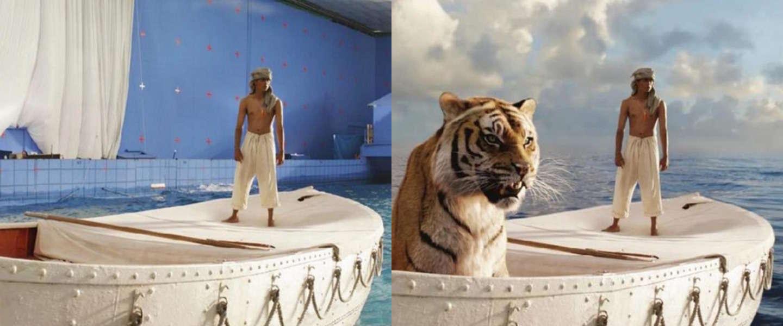 15 foto's uit bekende films voor en na special effects