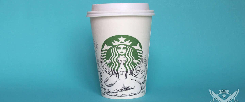 Illustrator maakt kleine kunstwerkjes van Starbucks-bekers