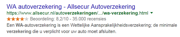 4. WA verzekering review rich snippets