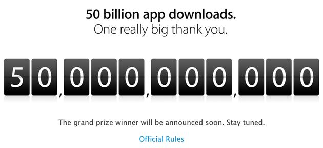 Apple's Appstore tikt de 50 miljard downloads aan