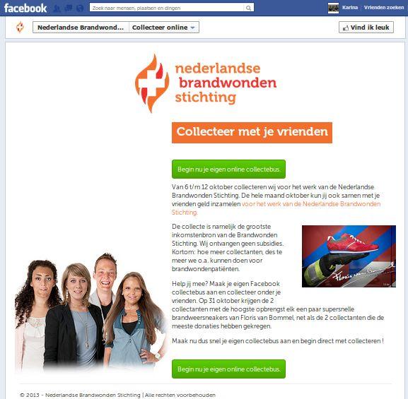 Brandwonden Stichting collecteert ook online