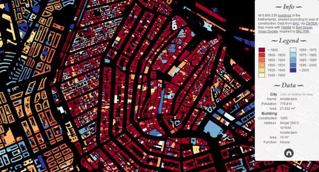 Datavisualisatie van de leeftijd van alle Nederlandse gebouwen