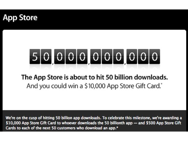 Download nr 50 miljard in the Apple Store wint 10.000 dollar
