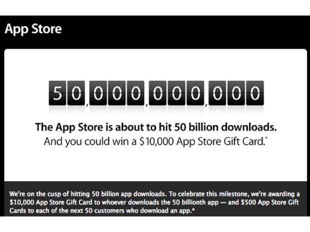 Download nr 50 miljard in the Apple Store wint 10.000 dollar