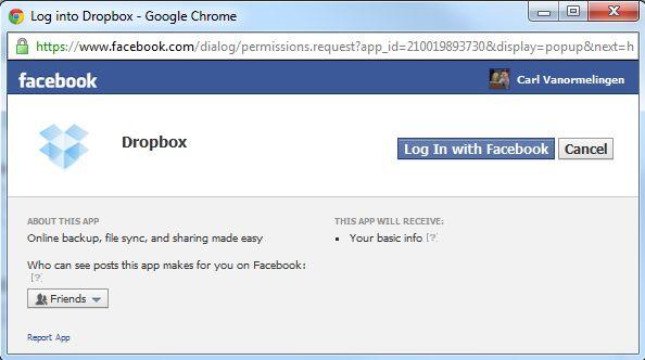 Dropbox gebruikers kunnen nu bestanden via Facebook delen