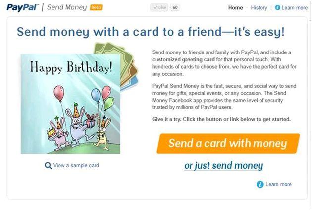 Facebook app van PayPal voor het overmaken van geld naar vrienden