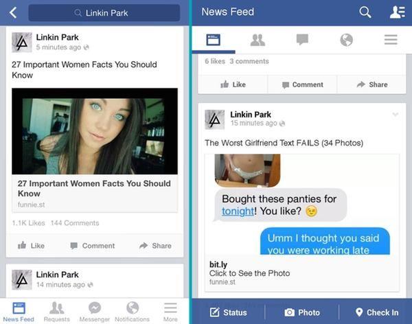 Facebook pagina Linkin Park even 'gehackt'