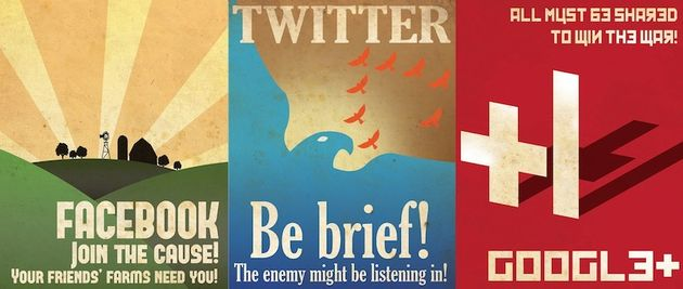 Facebook, Twitter en Google+ propaganda posters