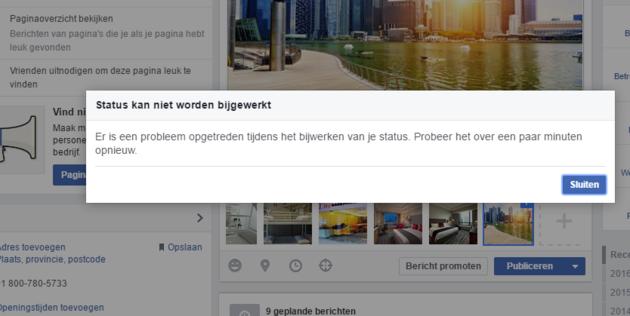 foutmelding facebook