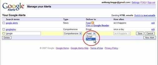 Google Alerts als feed verkrijgbaar