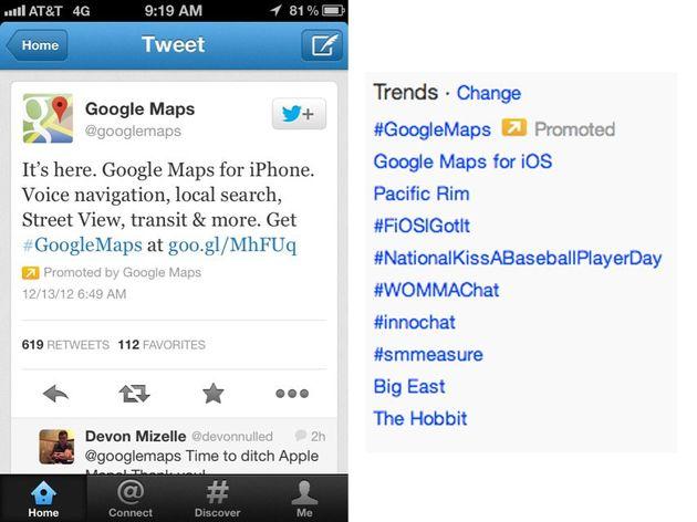 Google betaalt Twitter om te adverteren voor Google Maps