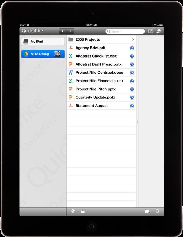Google brengt Quickoffice iPad app uit
