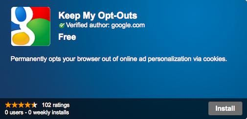 Google : Keep my opt-outs, tot ziens Ad Tracking cookies