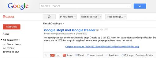 Google Reader data nog tot 15 juli te downloaden