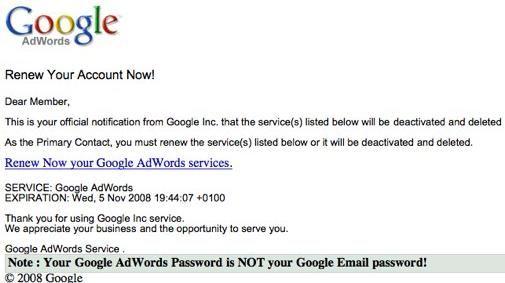 Google Spam link voor Adwords gebruikers