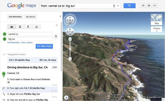 Helicopter view van de geplande route via Google Maps