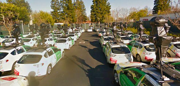 Het leger Street View Auto's van Google
