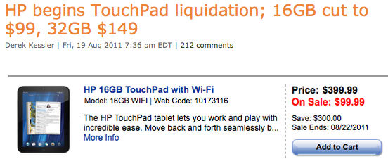 HP Touchpad als koopje over de toonbank