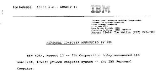 IBM lanceerde 30 jaar geleden de PC