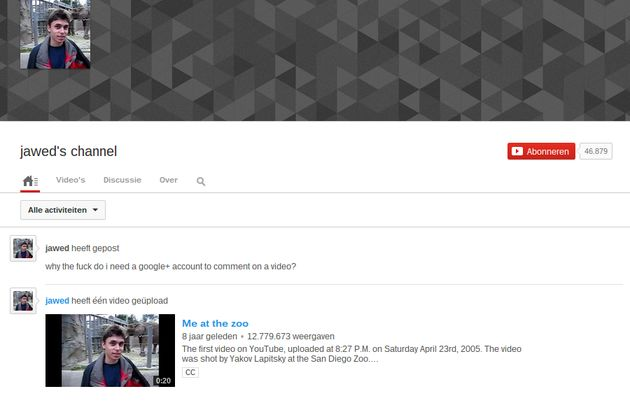 "Jawed Karim: ""why the f*** do i need a google+ account to comment on a video?"""