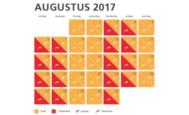 kalender-drukte-schiphol-augustus