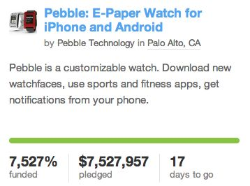 Kickstarter helpt Pebble aan 7,5 miljoen dollar