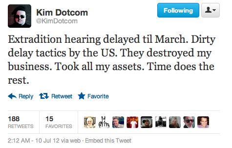Kim Dotcom zal voorlopig nog niet uitgeleverd worden