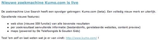 Live Search exit? Kumo is Live! Of?