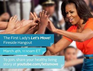 Michelle Obama organiseert een 'Healthy Eating Google+ Hangout' op 4 maart