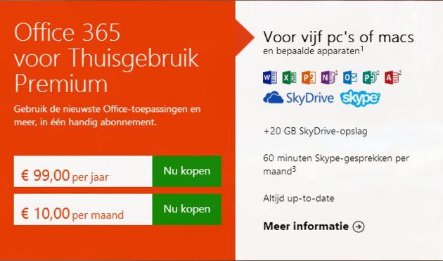 Microsoft Office voor consumenten als een abonnement in plaats van een pakket