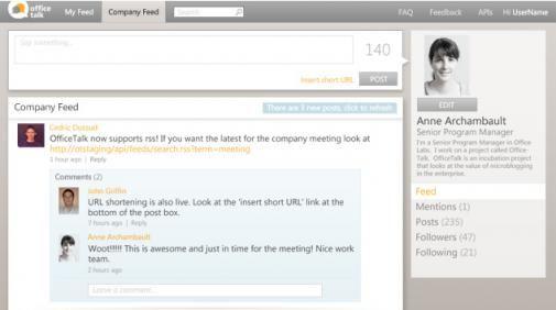 Microsoft Officetalk, Twitterkloon of Yammer look-a-like