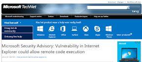 Microsoft waarschuwt gebruikers van Internet Explorer versie 6-11 voor beveiligingslek