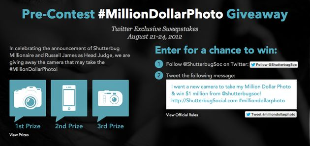 Million Dollar Photo Contest: prijzen winnen via Twitter