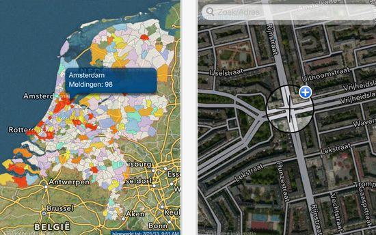 Mobiele app voor het melden van onveilige situaties op de weg