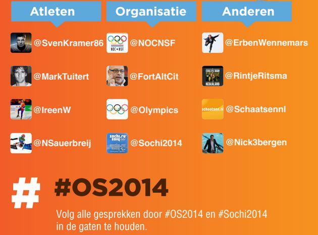 Nederlandse sporters volgen via Twitter tijdens #Sochi2014