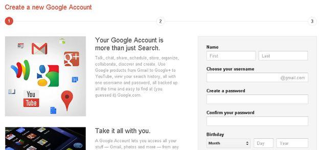 Nieuwe Google gebruiker krijgt direct Google Profiel en Gmail