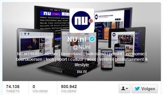 NU.nl heeft half miljoen volgers op Twitter