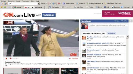 Obama volgen op CNN en Facebook