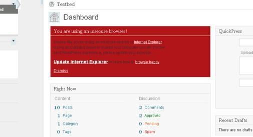 Ook Wordpress zegt ondersteuning IE6 op