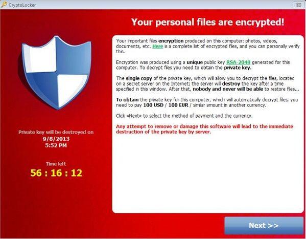 Oppassen voor het 'CryptoLocker virus'; Cybercriminelen kapen uw bestanden