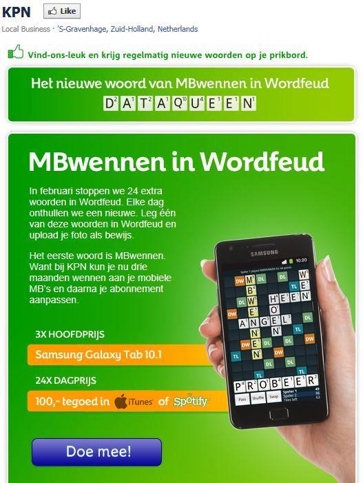 #RTfun: Leg MBwennen in Wordfeud! RT en maak kans op de Samsung Galaxy S2 namens #KPN