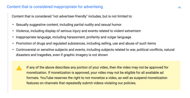 youtube tos 2016