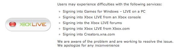 [service] Xbox Live is down