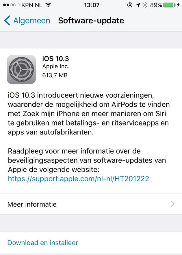 Met iOS 10.3 krijg je meer ruimte beschikbaar op je iPhone