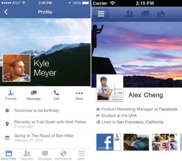Start uitrol nieuwe layout Facebook-profielen op iOS